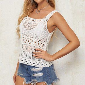 Top Thick Strap Crochet Knit Ladies white NWT